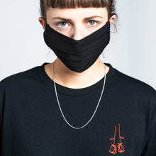 COTTON FACE MASK WITH NECKBAND - BLACK