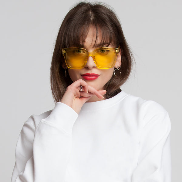 CHUNKY SUNGLASSES - CLEAR YELLOW