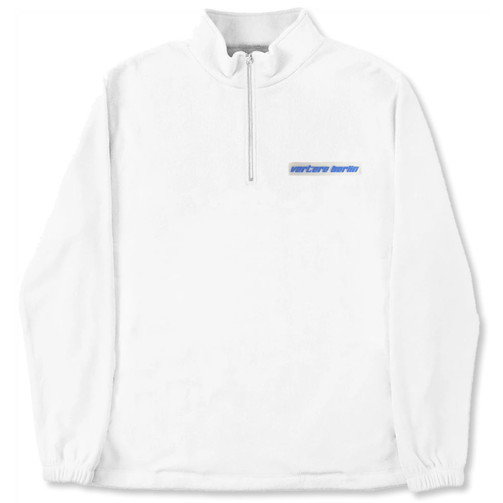 RUBBER PATCH FLEECE ZIP SWEATER - WHITE