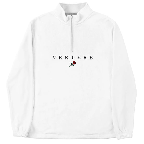 FLEECE ZIP SWEATER VERTERE ROSE - WHITE