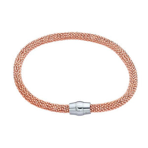 "Rose Gold over Sterling Silver, Sterling Silver Magnetic Clasp,7 1/2"" 4.5mm Diamond Cut Beads, Made in Italy"