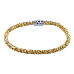 "Bracelet, Gold over Sterling Silver, Sterling Silver Magnetic Clasp,7 1/2"" 4.5mm Diamond Cut Beads, Made in Italy"
