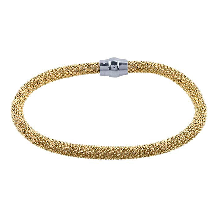 Bracelet, Gold over Sterling Silver, Sterling Silver Magnetic Clasp,7 1/2