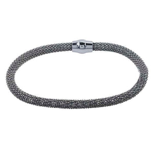 "Bracelet, Ruthenium over Sterling Silver, Sterling Silver Magnetic Clasp,7 1/2"" 4.5mm Diamond Cut Beads, Made in Italy"