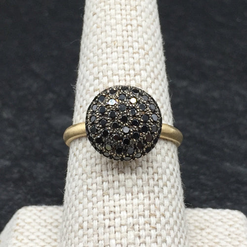 Ring, Black Pave Diamond Ball, 14kt Yellow Gold