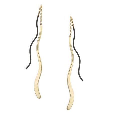 EARRINGS, RIVER BEND THREADERS, 14KT Y ECOGOLD RIVER, 0.925 MATTE BLACK ECOSILVER TRACER