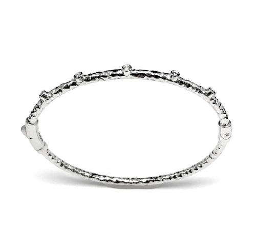 Bracelet, 3mm, Hammered Silver, Diam. 0.10tcw Sterling Silver