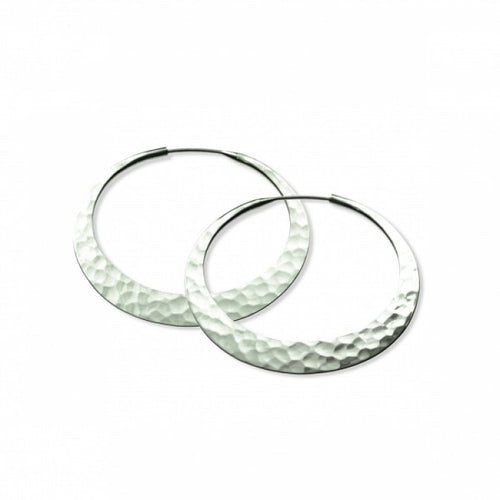 Earrings, eclipse hoops, 38mm, eco silver