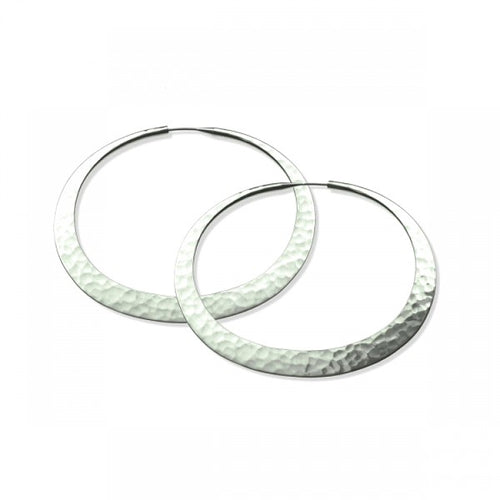 Earrings, Eclipse Hoops, 46mm, Eco Silver