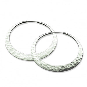 Earrings, hoops, eclipse, 55mm, eco silver