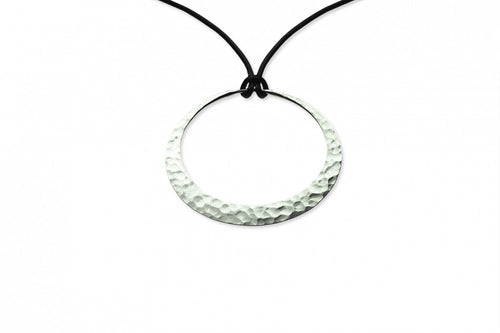 Necklace, Eclipse Hoop Pendant, 38mm, Eco-Silver, Adjustable Silk Lanyard