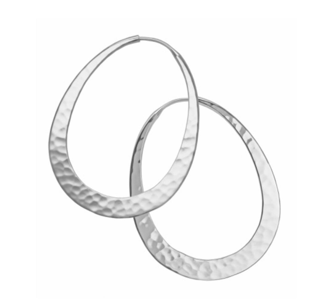 Earrings, Oval hoops, hammered eco-silver, 40mm long