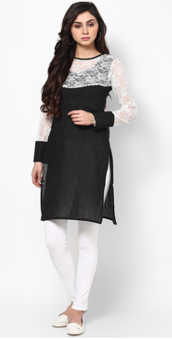 Kurthi-Black cotton kurthi with lace work