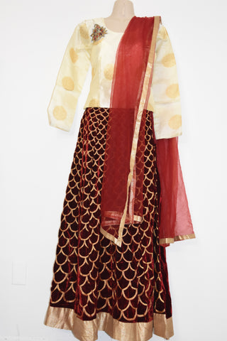 Gagra/Lehenga-Croptop/Cheniya-Choli--Silk-top-with-RedVelvette lehenga-with Dupatta(Netted)