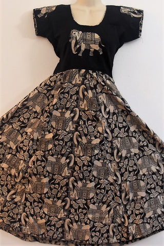 kalamkari-dresses-Black-top-with-Back-bottom-Elephant Symbol