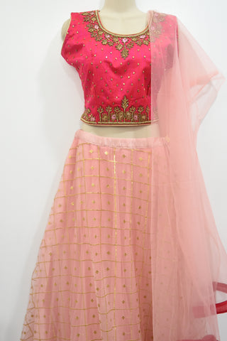 Lehanga choli-lehanga with embroidery netted, top with handwork stone, kundan jardosi
