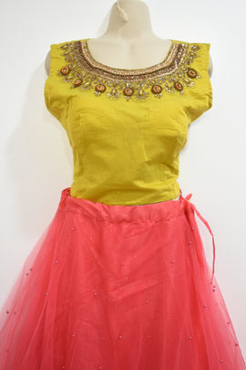 Lehanga choli-lehanga with netted and pearl work lehanga, top with handwork stone, kundan jardosi