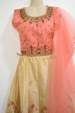 Pure Bananas Silk Lehanga with embroidery and beads and kundan work blouse