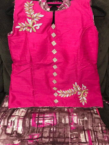 Cheniya Choli- Crop Top lehanga - Pink top with mix color bottom -Party wear dresses and Bridal Lehangas