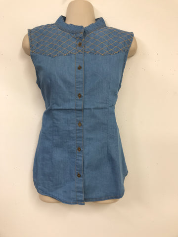 kurthi - jeans fabric sleeveless casual wear and outing