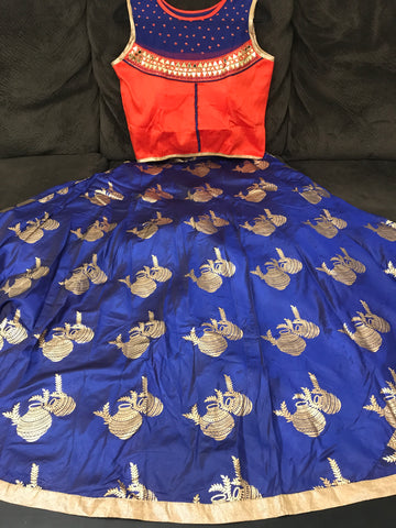 cheniya-choli-crop-top-lehanga-Orange with blue-top-with-blueecolor-bottom-with-Real Glass Mirror work-party-wear-dresses-and-lehangas