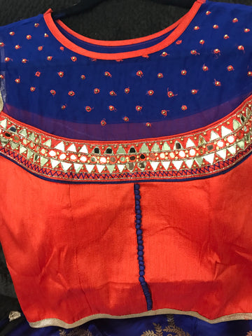 Cheniya-Choli-Crop-Top-Lehanga-Orange with blue top-with-orange color bottom-Real Glass Mirror work-party-wear-dresses-and-lehangas