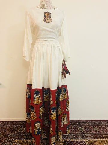 Kalamkari Dresses-Cotton-white-color-Red Kalamkari prints