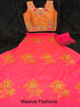 Ghagra / Lehanga-crop top/ Chaniya-choli -Raw silk with embroidery work with kundan-Pink bottom & Orange Top