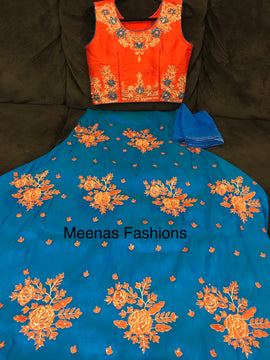 Ghagra / Lehanga-crop top/ Chaniya-choli -Raw silk with embroidery work with kundan-Blue bottom & Red Top