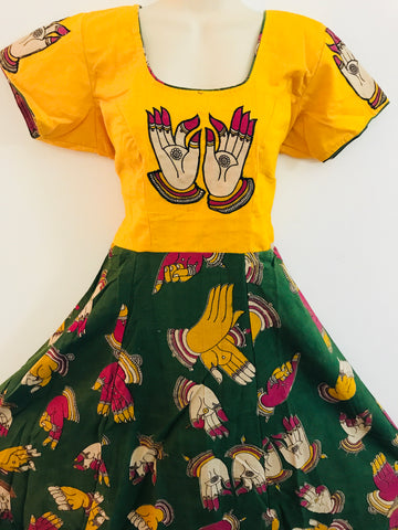 Kalamkari-dresses- Yellow Top with green bottom