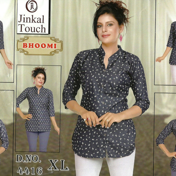 kurthi - jeans fabric 3/4 sleeves, casual wear and outing