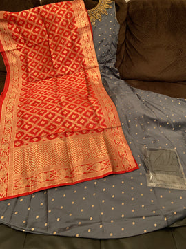 Gray color dress with red color Banaras Dupatta and Lycra Legging