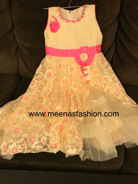 Babygirl's Frock Pink and cream color,  2 top Layer Barbie party wear dresses