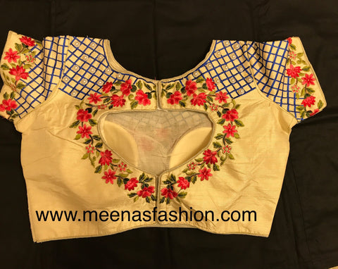 Cream color Silk Designer blouse with embroidery and pearl work