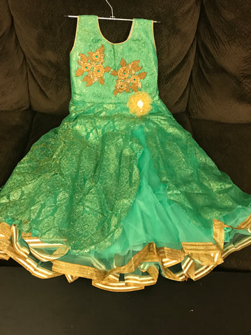 Baby Green color,  2 top Layer Barbie party wear dresses