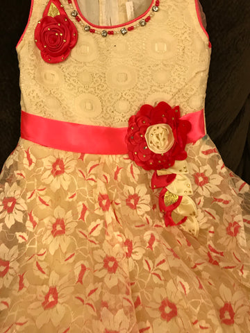 Babygirl's Frock Red and cream color,  2 top Layer Barbie party wear dresses