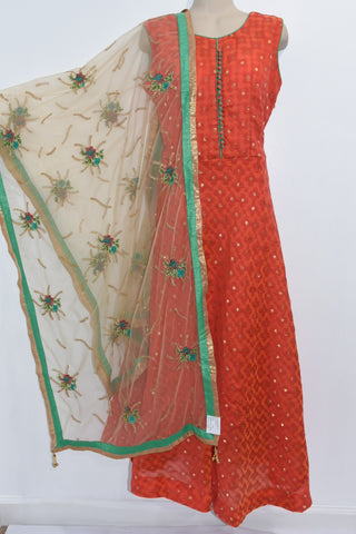 Beautiful Kubera Silk long dress with Netted designer work Dupatta and Lycra Legging 3 pice suit