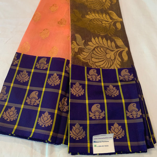 Kuppadam silk Peach and purple color Handloom silk saree with Big border contrast pallu blouse.