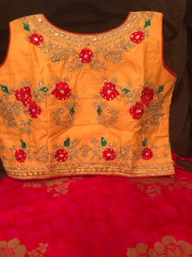 Banaras Silk Lehanga with embroidery mirror and kundan work