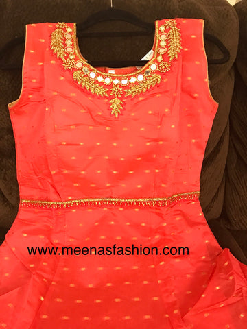 Pink color Banaras Butti top, Mehandi- Green color Banaras Dupatta and Lycra Legging