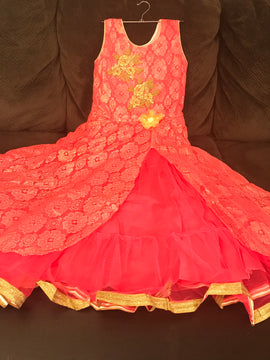 Baby Red color,  2 top Layer Barbie party wear dresses