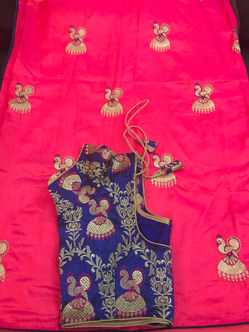 Beautiful Pink Saree with Nice Navy  Blouse  Fully very think Embroidery work beautiful peacock Earrings work on the Silk Saree. Very Beautiful Saree with Only 85$  Ready to wear with Blouse