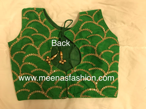 Green color Netted Designer blouse with embroidery and beads work