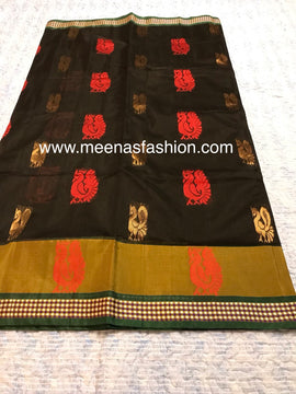 Kuppadam silk sarees- Black color with Big border