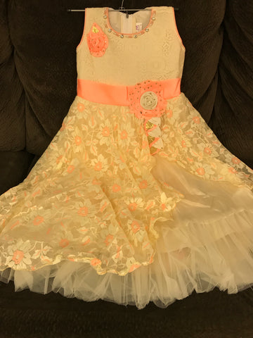 Babygirl's Frock Cantaloupe and cream color, 2 top Layer Barbie party wear dresses