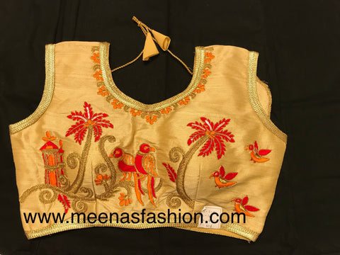 Gold color Silk Designer blouse with embroidery and beads work