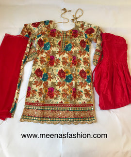 Bagalpuri silk top with Red color garden silk semi Patiyala suit With heavy embroidery and mirror (plastic)and kundan work