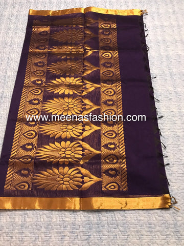 Kuppadam silk sarees- Purple color with Gold color border