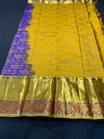 Pure Kanchipuram Silk Saree Bridal wear Ready to wear saree with stitched Blouse, pico and fall fully stitched party wear Saree
