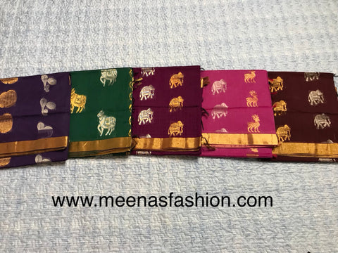 Kuppadam silk sarees- Green color with Gold color border